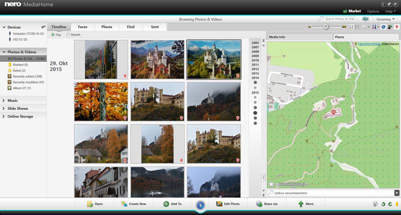 Nero MediaHome screenshot: Nero, Nero MediaHome, MediaHome, free, manager, photos, music, video