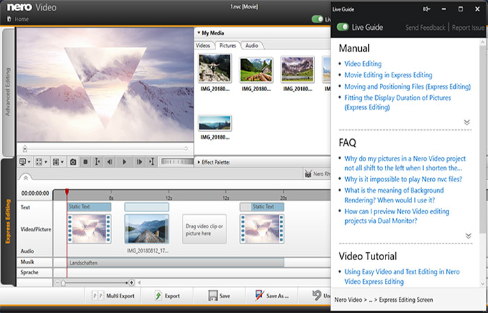 Utilizza la Live Guide in Nero KnowHow PLUS sensibile al contesto per i progetti di video editing.