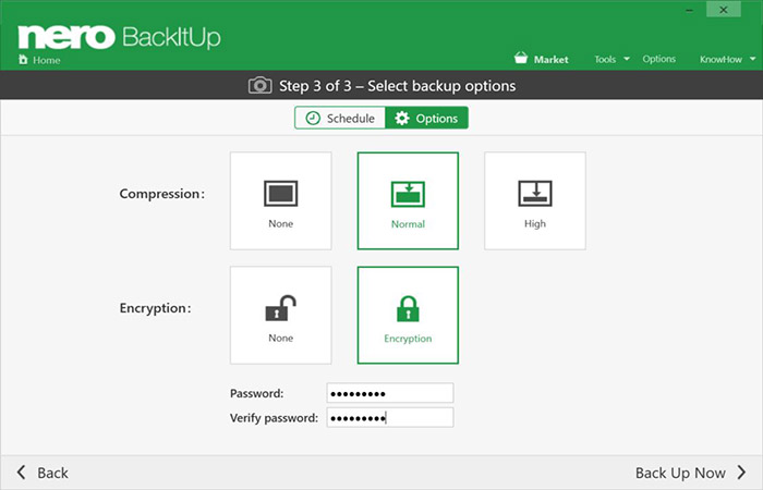 Your backups are compressed and encrypted in just one click.