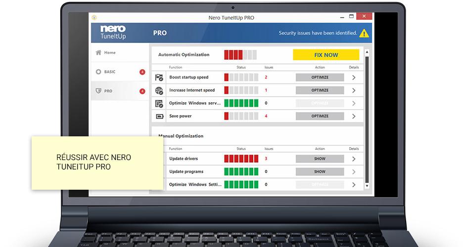 Nero TuneItUp PRO repère, chasse et élimine les ralentisseurs d'ordinateur